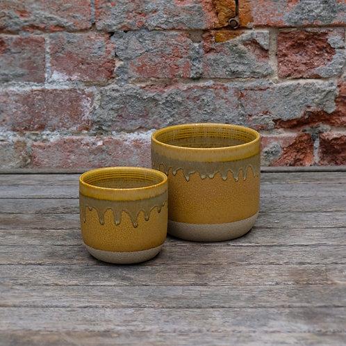 Mustard Drip Glazed Concrete Pot