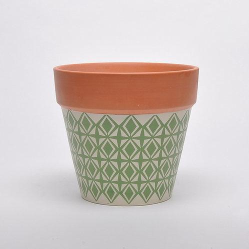 Green Painted Terracotta Pot 20cm.
