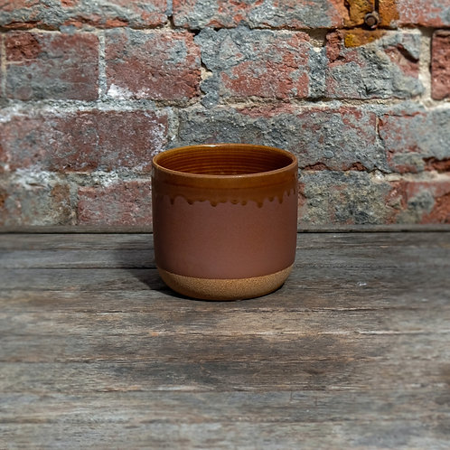 Pink & Orange Glazed Ceramic Pot