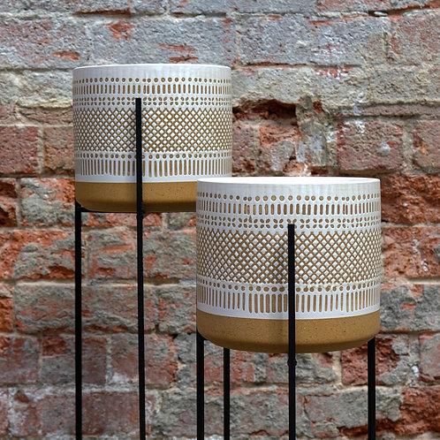 White 'Boho' Glazed Ceramic Pot - Large