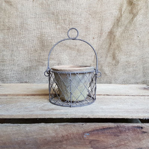 Wire Basket with Blackstone Antiqued Clay Pot