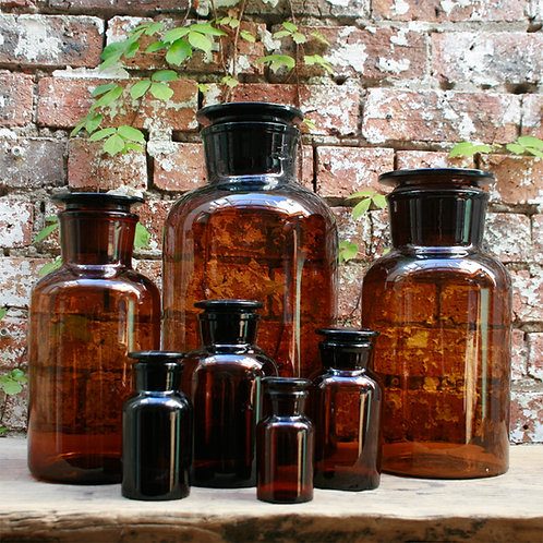 Apothecary Bottle (Amber, Wide Mouth)