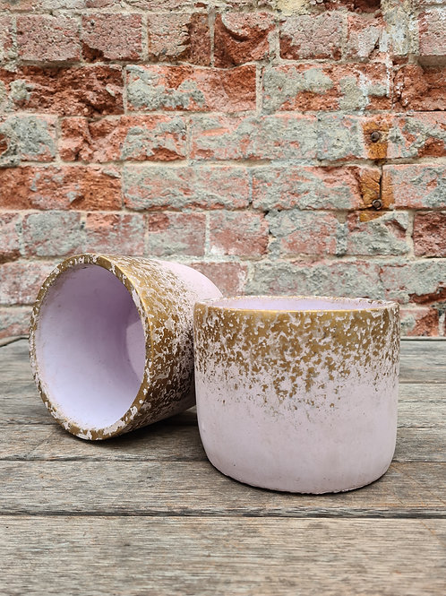 Pink and Gold  concrete pot
