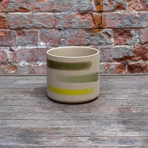 Beige & Striped Ceramic Pot