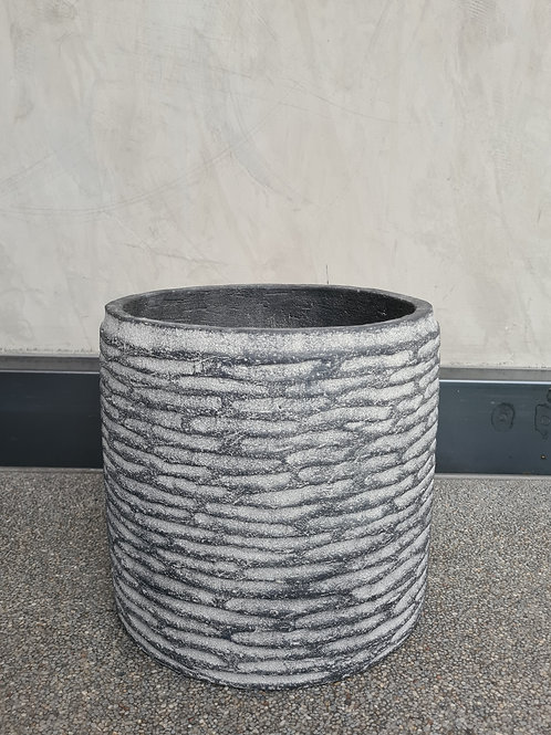 Textured Greywash Cylinder pot