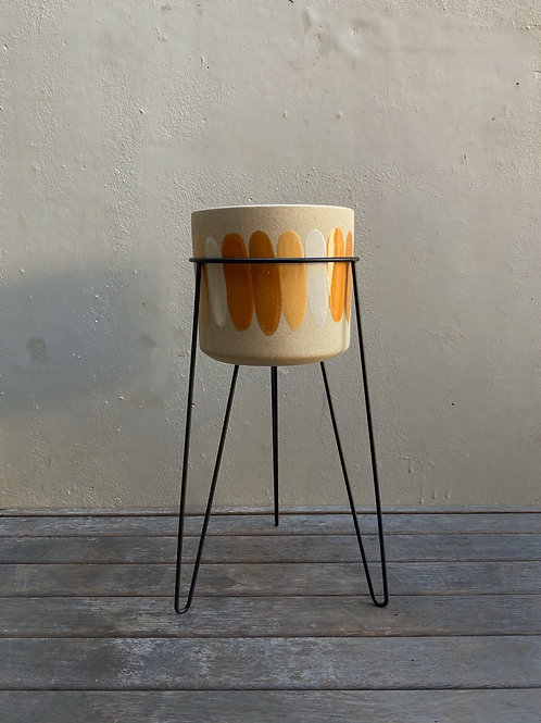 Natural Pot with Painted Stripes