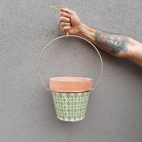 Green Diamond Terracotta Pot in Gold Ring Hanger