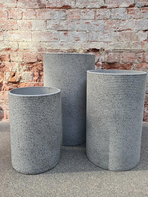 Tall Ribbed Round Granito Grey Concrete Pot