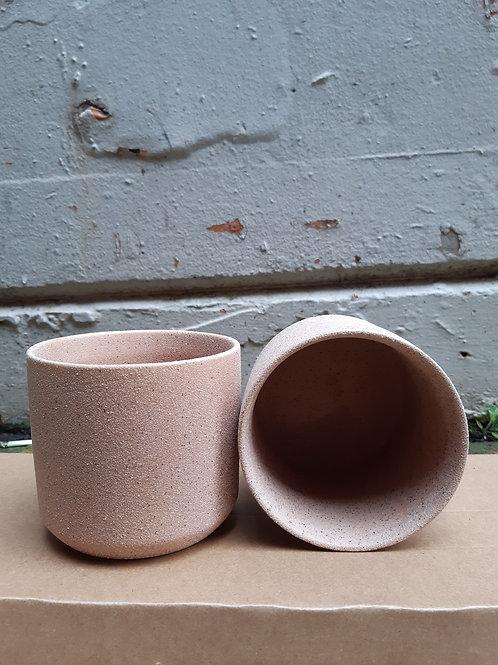 Ceramic pot oblique  sand finish pink 95mm