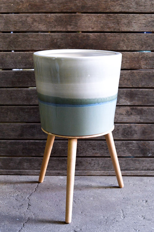 Green Glazed Ceramic Pot on Stand 30cm