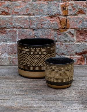 "Black ""Boho""  Glazed Ceramic Pot - Large"