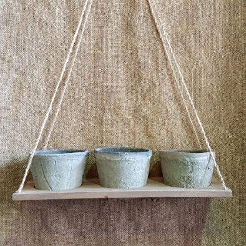 Hanging Tray with 3 Antiqued Clay Pots