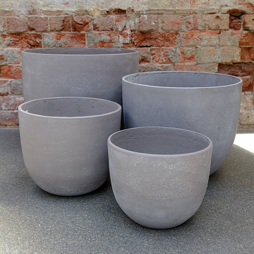 Light Grey 'Egg' Concrete Pot