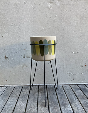 Yellow & Blue Striped Pot