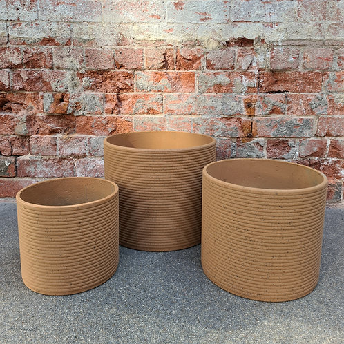 Terracota Ribbed Concrete Cylinder Pot