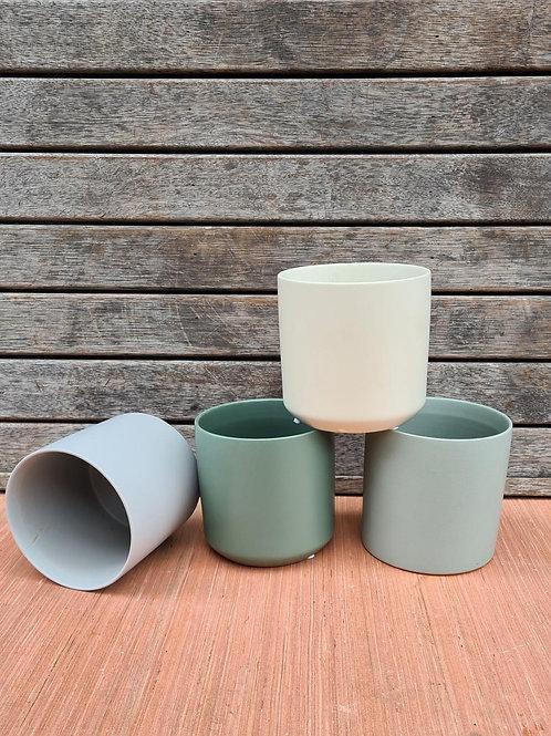 Ceramic pot oblique Dark Green