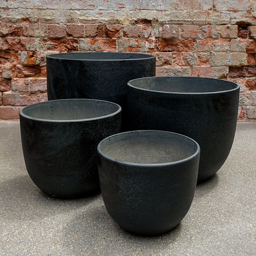 Black concrete Egg pot