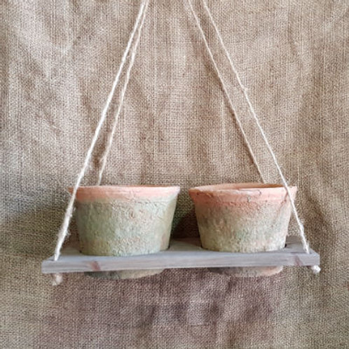 Hanging Tray with 2 Antiqued Cactus Pot