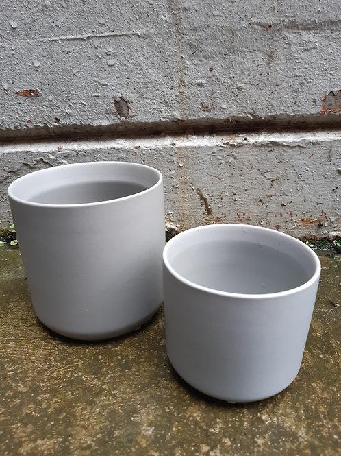 Ceramic pot oblique grey