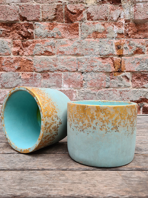 Turquoise with Gold Detail Concrete Pot