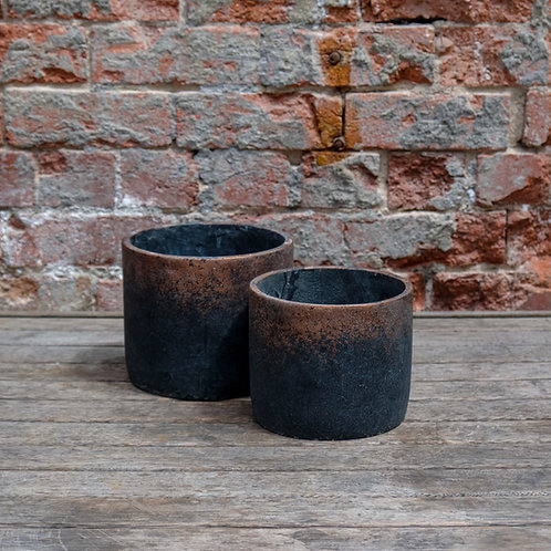 Charcoal with Copper Detail Concrete Pot.