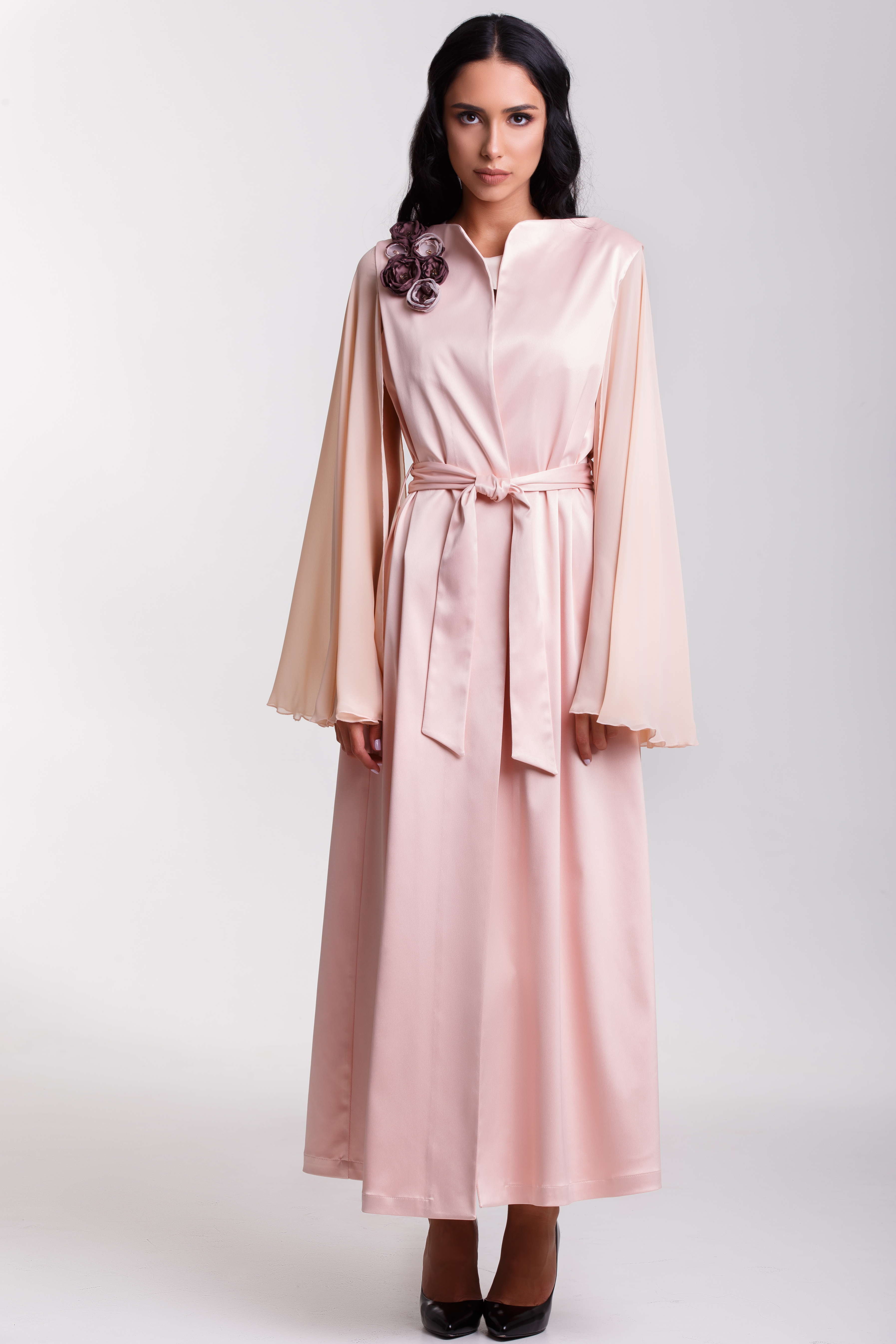 satin kaftan with silk sleeves