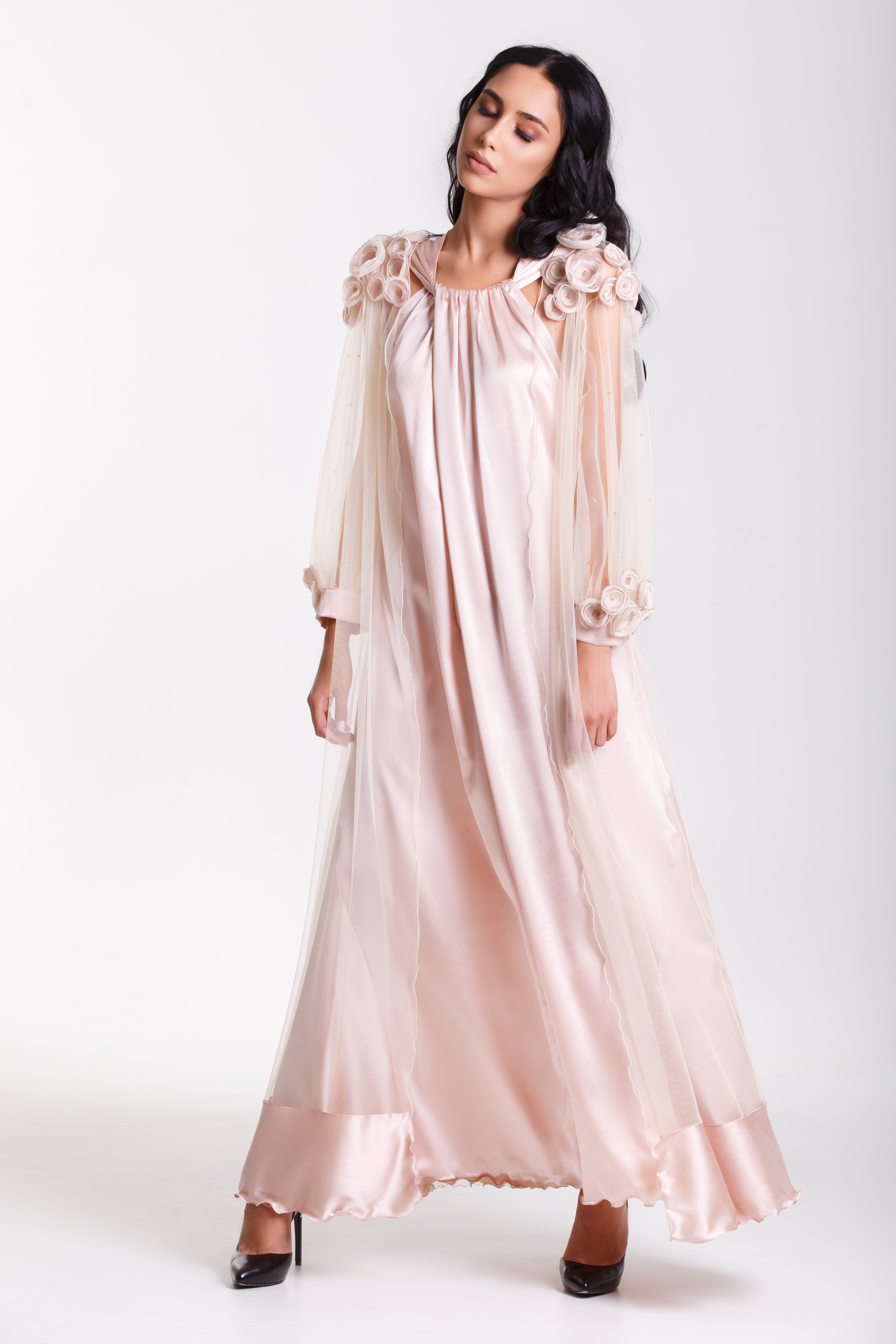 silk dress with tulle cape and flowe