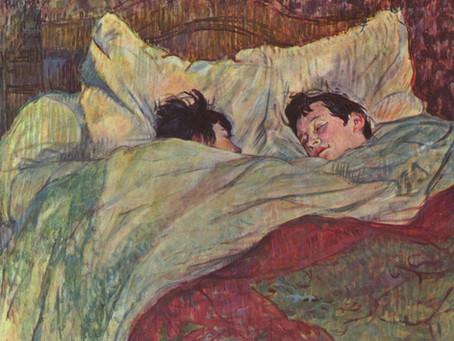 צעיף עם סיפור: אהבת  נשים בציורי אנרי טולוז לוטראק, המיטה (Le Lit) , שתי החברות (Les deux amies).