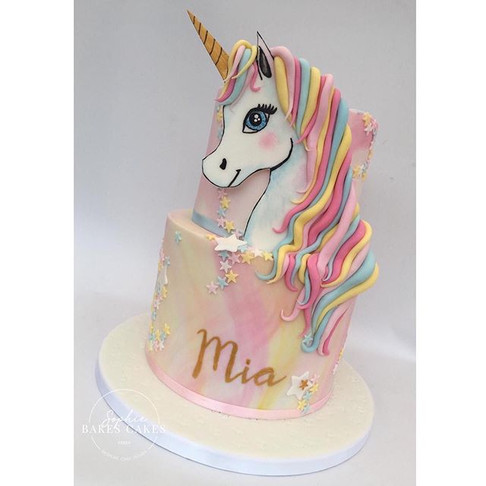 This two tier unicorn cake for a special