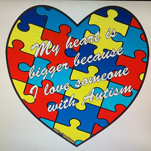Autism heart with phrase