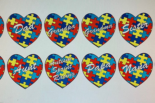 Family member autism heat decal