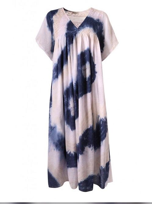 Crochet Maxi Trim Tie-Dye Short Sleeve Dress