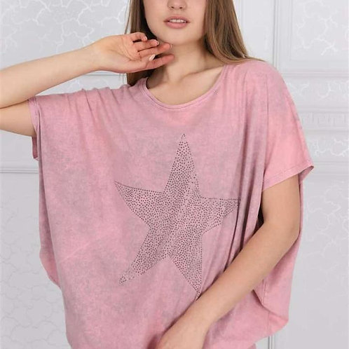 Pink Sparkle Star Balloon Tee