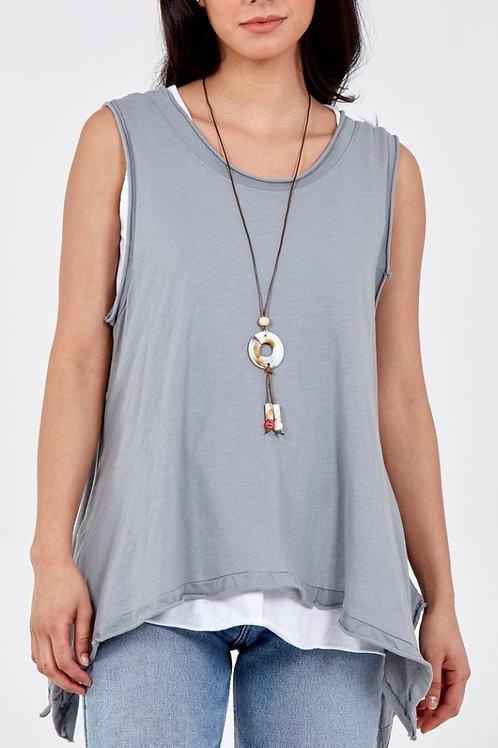 Asymmetrical Double Layer Sleeveless Necklace Top