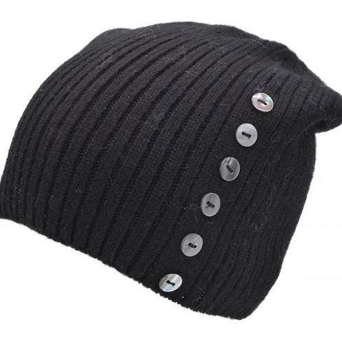 Buttoned Knitted Beanie Hat