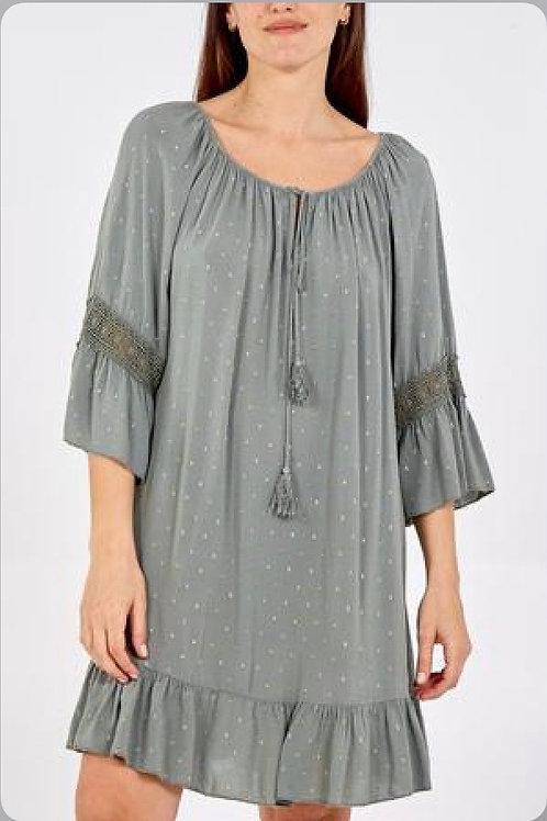 Scoop Neck Gold / Silver Fleck Tassel Dress