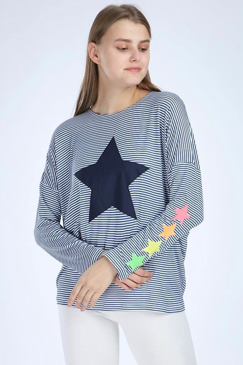 Navy White Striped Star Printed Cotton Long Sleeve