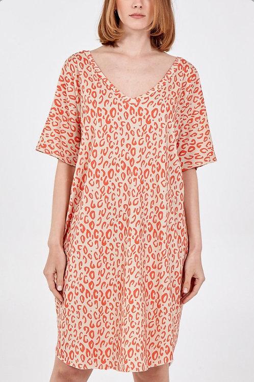 V Neck Print T-Shirt Dress