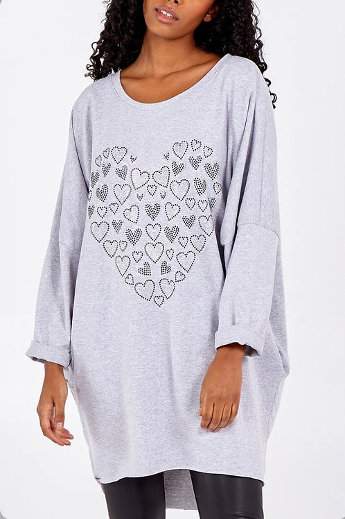 Diamanté Heart High Low Sweatshirt