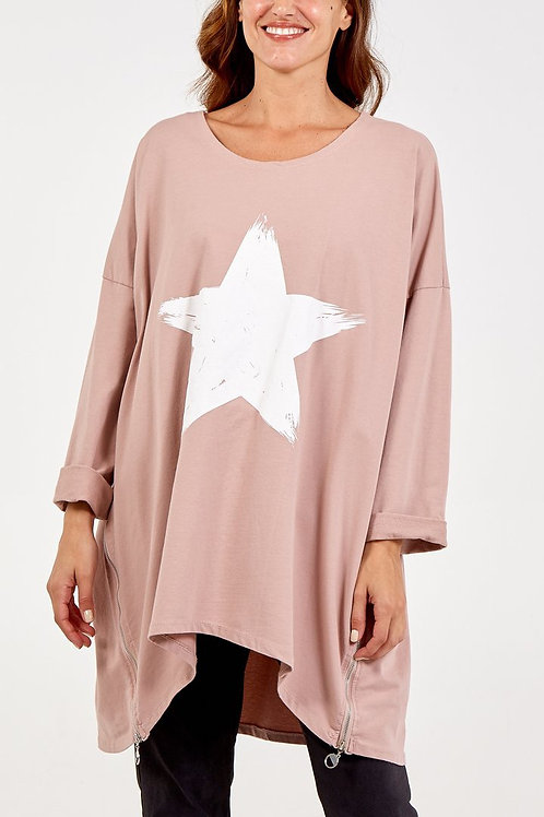 Oversized Zip Detail Star Sweatshirt