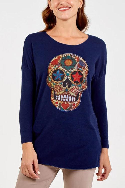 Long Sleeve Round Neck Skull Print Jumper