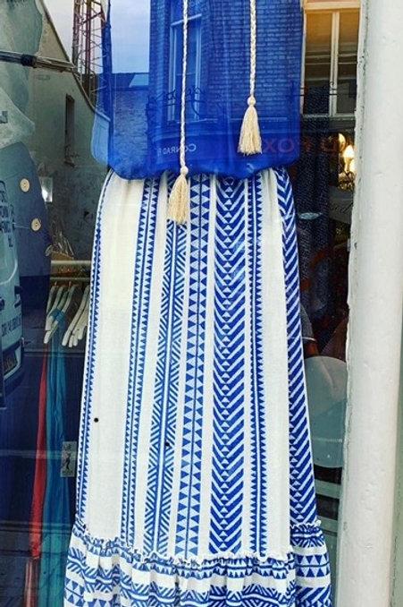 Aztec Print Linen Maxi Skirt