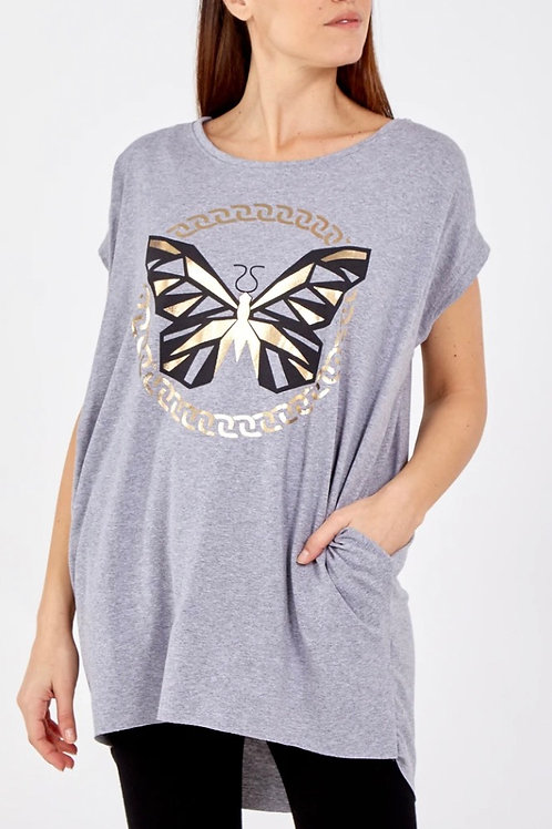 Gold Butterfly Pocket Top