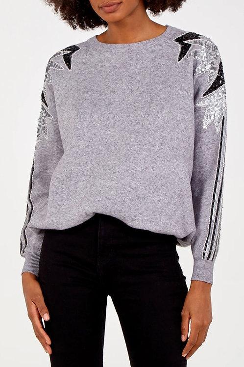 Embellished Sleeve and Shoulder Jumper