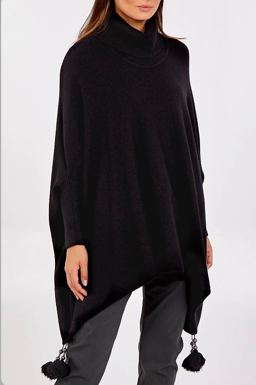 Roll Neck Tassle Poncho Style Jumper