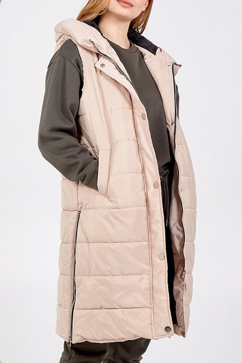 Padded Hooded Side Zip Gillet