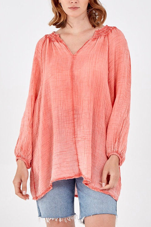 Cheesecloth Cuffed Sleeved Top