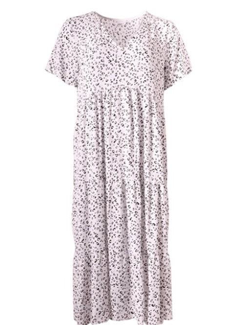 Mini  Maxi Leopard Print V-Neck Tiered Dress