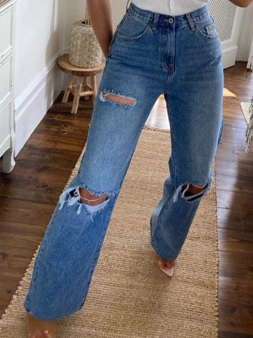 Rip wide leg jean