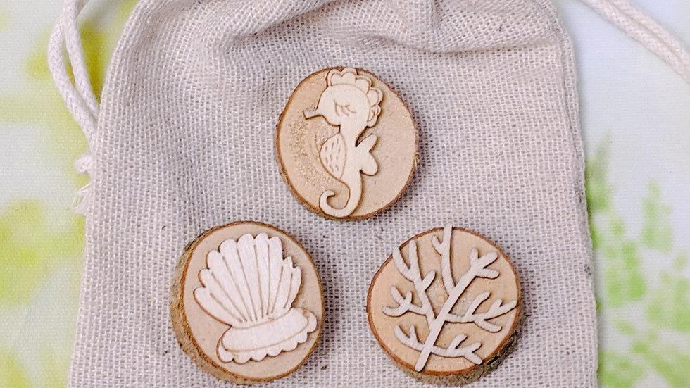 Natural playdough stamp set (sea)
